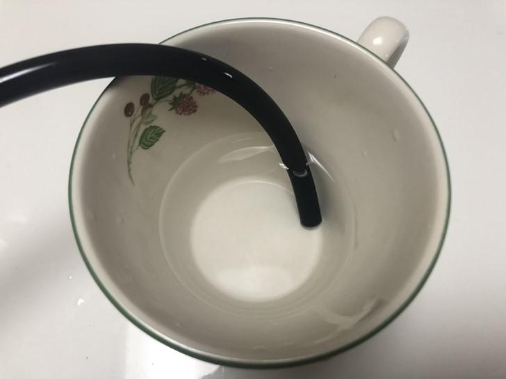 お湯でホースを柔らかく